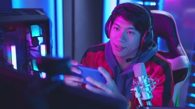 vídeos de stock, filmes e b-roll de cybersport gamer tem transmissão ao vivo - computador desktop