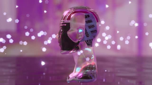 vídeos de stock, filmes e b-roll de cyborg está encarando um clone de inteligência artificial criptoart - imitação