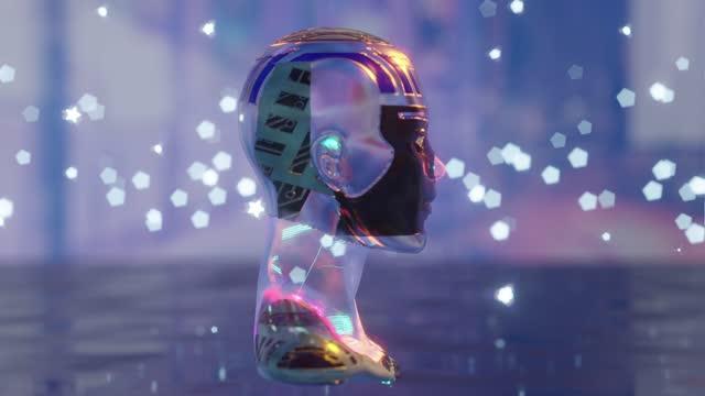 cyborg starrt einen künstlichen intelligenz klon kryptoart - sculpture stock-videos und b-roll-filmmaterial
