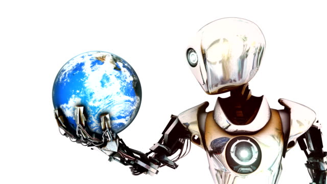 cyborg robot hold planet earth in its hand - tecnologia assistiva video stock e b–roll