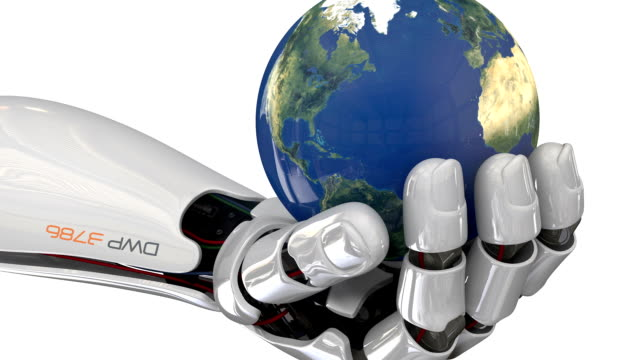 cyborg robot with world in hand - robotic arm stock videos & royalty-free footage