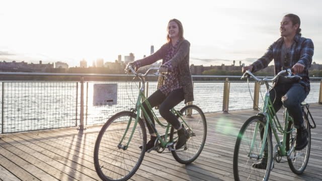 Cycling at sunset in New York