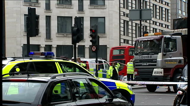 European Parliament approves new rules to improve safety of lorries 342014 T03041403 London Ludgate Circus Various shots of police vehicles police...