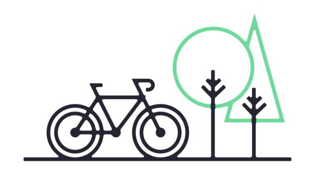 vídeos de stock e filmes b-roll de cycling icon animation - design plano