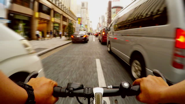 cycling in ginza, tokyo -4k- - bicycle stock videos & royalty-free footage