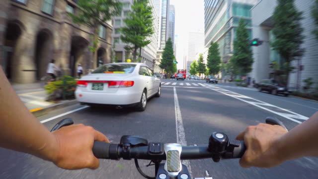 cycling in marunouchi, tokyo-4k- - marunouchi stock videos & royalty-free footage