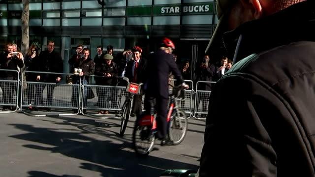 santander unveiled as new sponsor of london hire bikes; england: london: ext boris johnson riding london hire bike displaying new sponsore... - new hire stock videos & royalty-free footage