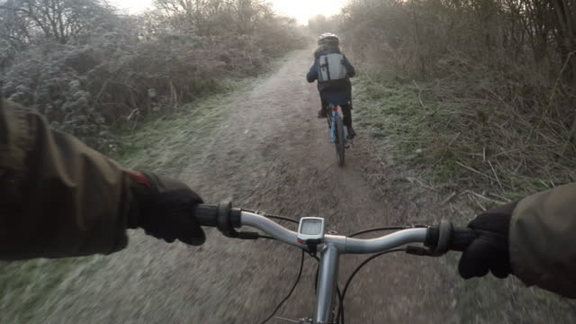 Cycling through a frosty park