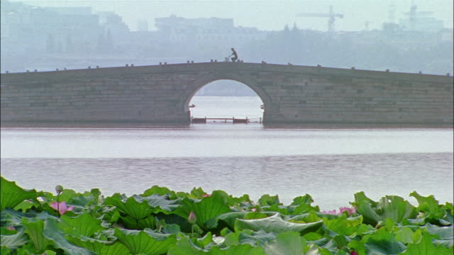 a cyclist ride his bicycle over a bridge. - zhejiang province stock videos & royalty-free footage