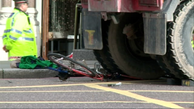 Cyclist seriously injured in collision with lorry ENGLAND London Ludgate Circus EXT Tipper truck in area of junction sealed off by police after...