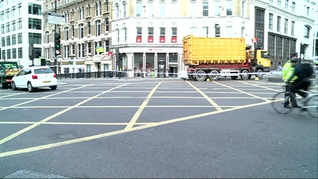 Cyclist seriously injured in collision with lorry Reporter to camera SOT Vox pops SOT Cyclists and other traffic crossing partially closed junction...