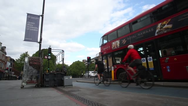 cyclists commute home on the mile end road cycle superhighway on may 12, 2020 in london, england. - on the move stock videos & royalty-free footage