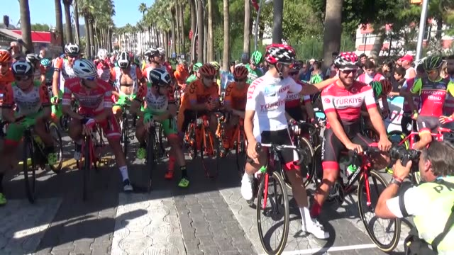 cyclists compete in the 2053kilometer fouth marmaris selcuk stage of 53rd presidential cycling tour of turkey on october 13 2017 in mugla turkey for... - marmaris stock videos & royalty-free footage