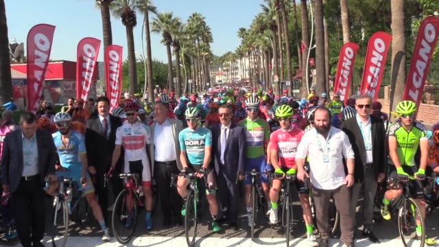 cyclists compete in the marmaris selcuk stage of the 54th presidential cycling tour of turkey begins on october 12 2018 in marmaris district of... - marmaris stock videos & royalty-free footage