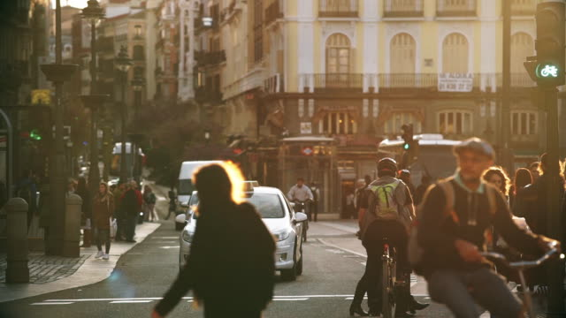 cyclists in puerta del sol - madrid stock videos and b-roll footage