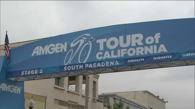 ktla cyclists participating in the 11th annual amgen tour of california rode 92 miles from south pasadena to santa clarita - santa clarita stock videos & royalty-free footage