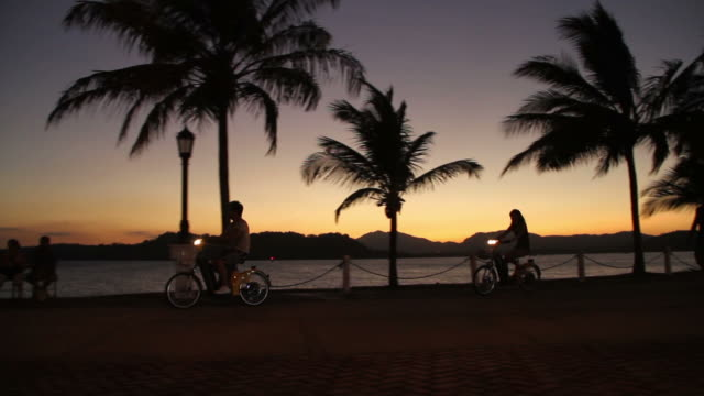 cyclists ride near the sea in panama - panamakanal stock-videos und b-roll-filmmaterial