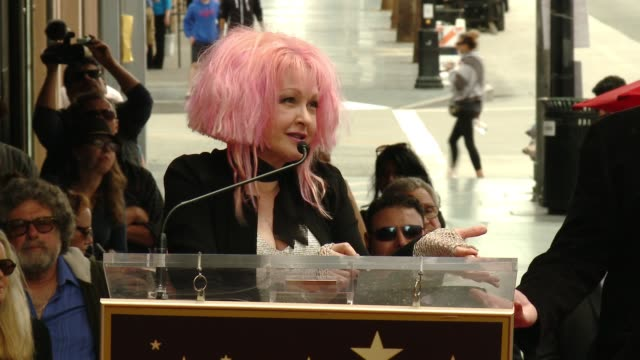 stockvideo's en b-roll-footage met cyndi lauper and harvey fierstein at cyndi lauper and harvey fierstein honored with star on the hollywood walk of fame at hollywood walk of fame on... - cyndi lauper
