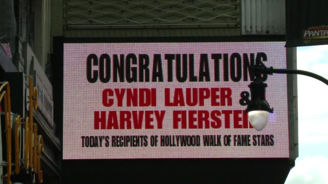 stockvideo's en b-roll-footage met cyndi lauper and harvey fierstein honored with star on the hollywood walk of fame at hollywood walk of fame on april 11, 2016 in hollywood,... - cyndi lauper