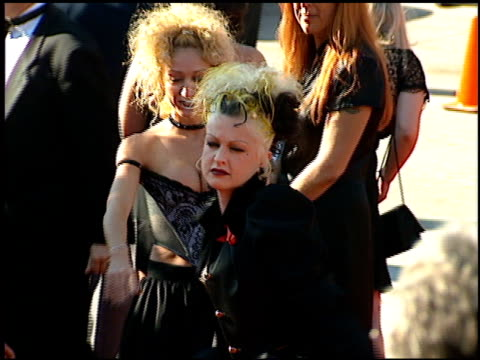 stockvideo's en b-roll-footage met cyndi lauper at the 1995 emmy awards arrivals at the pasadena civic auditorium in pasadena, california on september 10, 1995. - cyndi lauper