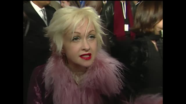 stockvideo's en b-roll-footage met cyndi lauper talks about the grammys being held in new york - part 01 - cyndi lauper
