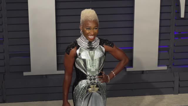 cynthia erivo at 2019 vanity fair oscar party hosted by radhika jones at wallis annenberg center for the performing arts on february 24, 2019 in... - vanity fair oscar party stock videos & royalty-free footage