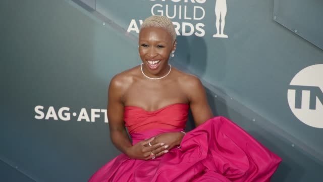 cynthia erivo at the 26th annual screen actorsguild awards - arrivals at the shrine auditorium on january 19, 2020 in los angeles, california. - screen actors guild stock videos & royalty-free footage