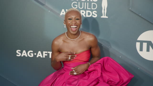 cynthia erivo at the 26th annual screen actors guild awards at the shrine auditorium on january 19, 2020 in los angeles, california. - screen actors guild awards stock videos & royalty-free footage