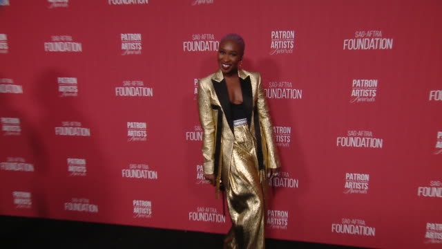 cynthia erivo at the sagaftra foundation's 4th annual patron of the artists awards in beverly hills ca - red carpet event stock videos & royalty-free footage