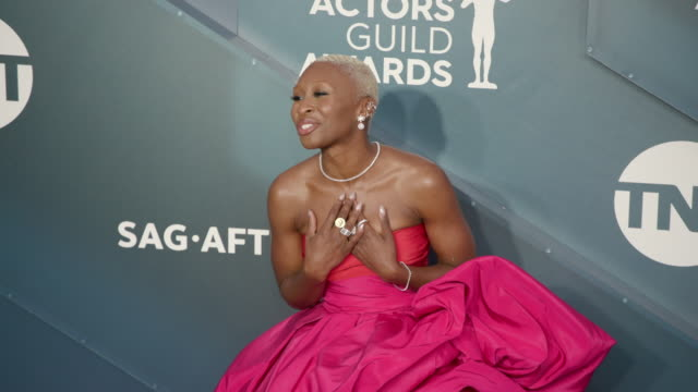 cynthia erivo at the shrine auditorium on january 19, 2020 in los angeles, california. - screen actors guild stock videos & royalty-free footage