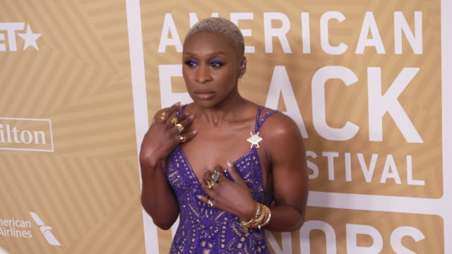 cynthia erivo at the the american black film festival honors awards ceremony at the beverly hilton hotel on february 23, 2020 in beverly hills,... - the beverly hilton hotel stock videos & royalty-free footage