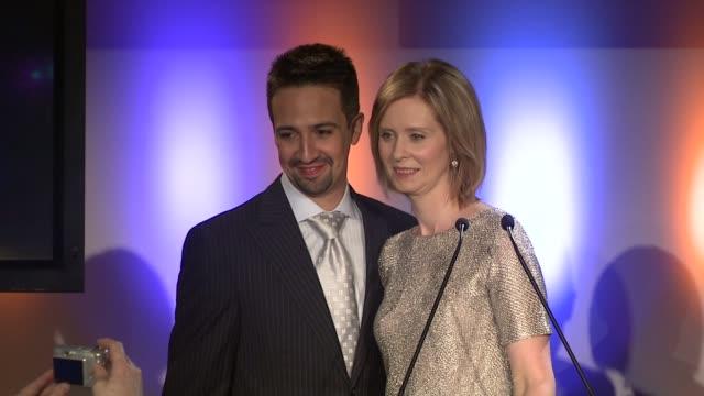 cynthia nixon and lin mauel miranda at the 2009 tony award nominations at new york ny - cynthia nixon stock videos and b-roll footage