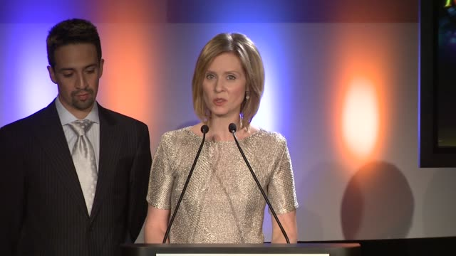 cynthia nixon announces the nominees for best direction of a play and best direction of a musical at the 2009 tony award nominations at new york ny - cynthia nixon stock videos and b-roll footage