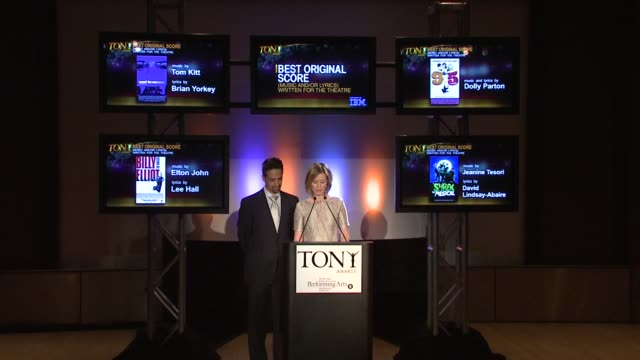 cynthia nixon announces the nominees for best original score music and/or lyrics written for the theatre and for best play at the 2009 tony award... - cynthia nixon stock videos and b-roll footage