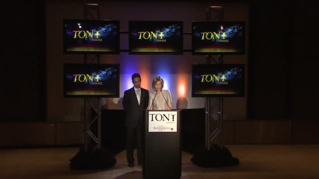 cynthia nixon announces the nominees for special theatrical event and on the tony life time achievement award at the 2009 tony award nominations at... - cynthia nixon stock videos and b-roll footage