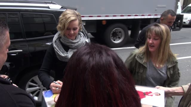 cynthia nixon arrives at the today show signs and poses for photos with fans in celebrity sightings in new york - cynthia nixon stock videos and b-roll footage