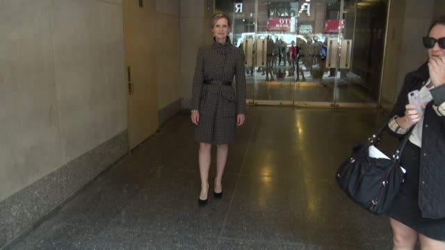 cynthia nixon leaving the 'today' show poses for photographers and signs for a fan in celebrity sightings in new york - cynthia nixon stock videos and b-roll footage
