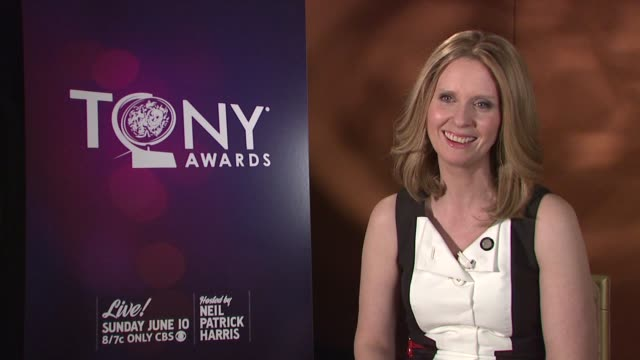 cynthia nixon on finding out about the nomination on the category nominees on at 2012 tony awards meet the nominees press reception at the millenium... - cynthia nixon stock videos and b-roll footage