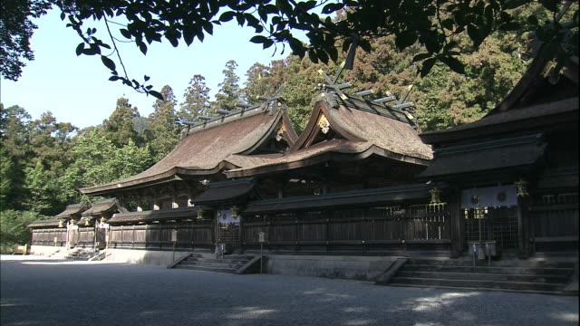 A cypress bark roof covers the Kumano Hongu Taisha Shrine in Tanabe, Japan.