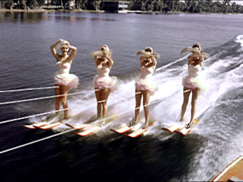 1956 cypress gardens waterskiing show - rope stock videos & royalty-free footage