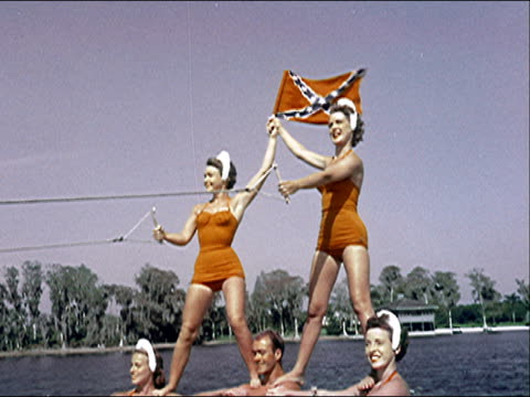 1956 cypress gardens waterskiing show - confederate flag stock videos and b-roll footage