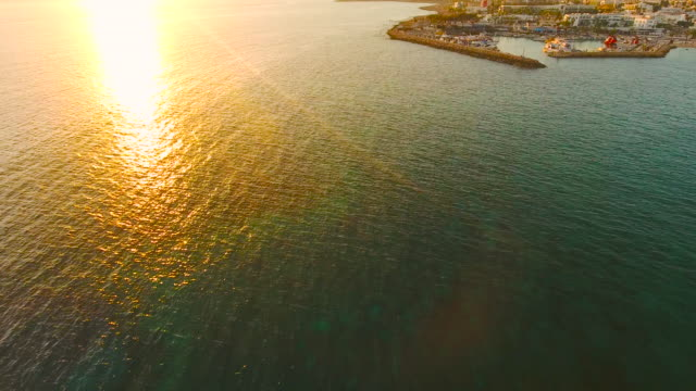 Cyprus, Ayia Napa. Aerial View. Beautiful evening landscape and sea waves.