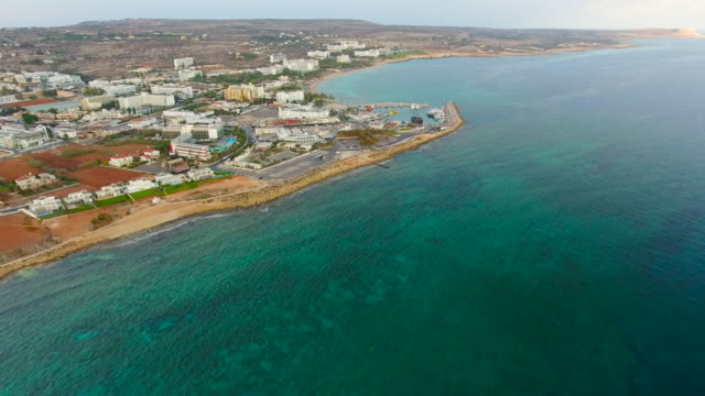 Cyprus, Ayia Napa. Aerial View. Panoramic View of the City and the Sea.
