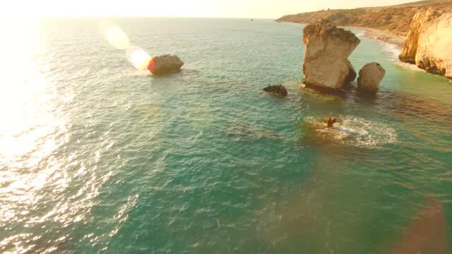 Cyprus, Kouklia. Aphrodite's Rock. Aerial View. Beautiful landscape and sea waves.