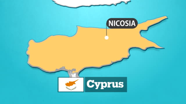 cyprus map with flag - cyprus island stock videos & royalty-free footage