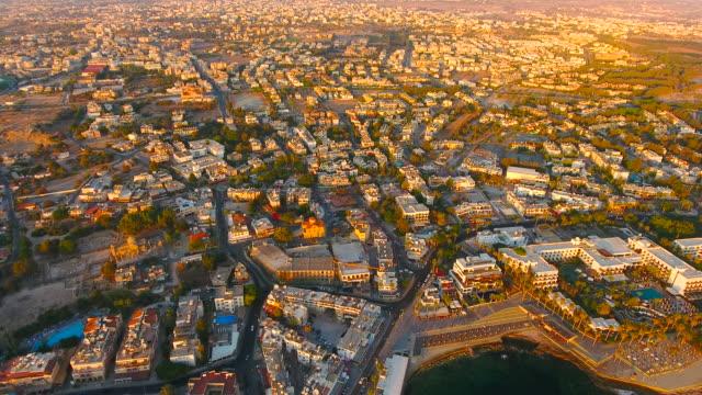cyprus, paphos. aerial view. beautiful scenery of paphos. - cyprus island stock videos & royalty-free footage