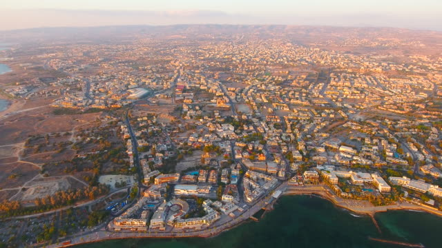 cyprus, paphos. aerial view. beautiful scenery of paphos. - republic of cyprus stock videos & royalty-free footage