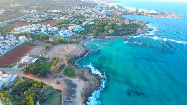 cyprus, protara, paralimni. aerial view. beautiful landscape and sea waves. - republic of cyprus stock videos & royalty-free footage