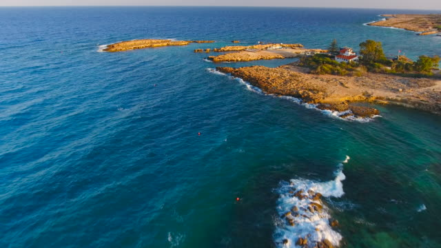 cyprus, protara, paralimni. aerial view. beautiful landscape and sea waves - republic of cyprus stock videos & royalty-free footage