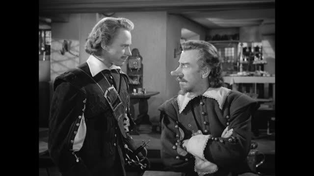 cyrano de bergerac (josé ferrer) and a man (william prince) agree to collaborate - conspiracy stock videos & royalty-free footage